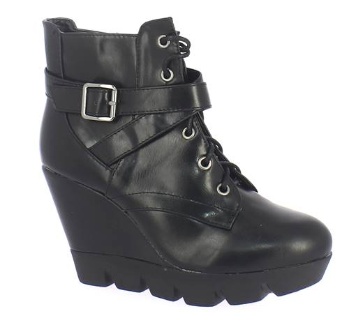 Bottines Compens Es Lacets Retro Tt99 Noir Retroshoes